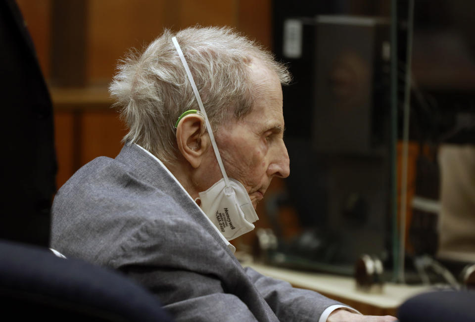 Robert Durst appears in a courtroom with his attorneys for closing arguments Wednesday, Sept. 8, 2021 in Inglewood, Calif. Robert Durst is a champion at running from responsibility, covering his tracks with lies so numerous he couldn't keep them all straight, a prosecutor said Wednesday during closing arguments in the New York real estate heir's murder trial. (Al Seib/Los Angeles Times via AP, Pool)