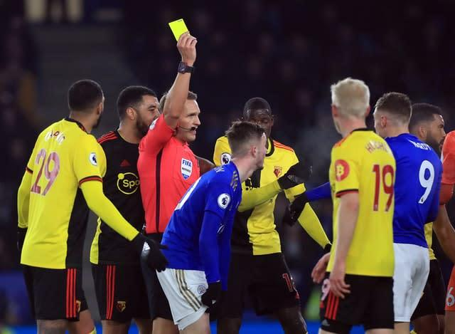 Vardy was denied a penalty and shown a yellow card (Mike Egerton/PA)