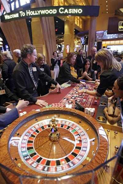 This Monday, May 21, 2012 photo shows the roulette table at the Hollywood Casino in Toledo, Ohio. Ohio's entry into casino gambling this spring isn't good news for its neighboring states. States including Indiana, Michigan and Pennsylvania are likely to lose millions in tax revenues as more Ohioans stay home to gamble. That could mean less money for new schools, college scholarships, roads and bridges.The new casino, the second in Ohio, is scheduled to open May 29. (AP Photo/Mark Duncan)