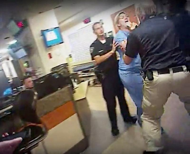 Nurse Alex Wubbels is shown during an incident at University of Utah Hospital in this still photo taken from a police body camera video on July 26, 2017.