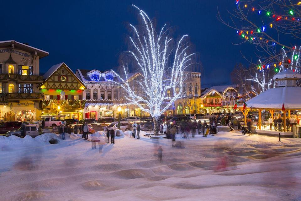 """<p>Sweet Bavarian towns make for the best Christmas spots because everything about them gives off major holiday vibes. With its gorgeous Christmas lights, reindeer farm, sleigh rides, sledding, and almost guaranteed snowfall, <a href=""""https://leavenworthchristmaslighting.com/"""" rel=""""nofollow noopener"""" target=""""_blank"""" data-ylk=""""slk:Leavenworth"""" class=""""link rapid-noclick-resp"""">Leavenworth</a> is easily one of the best Christmas towns in the country. <br></p>"""