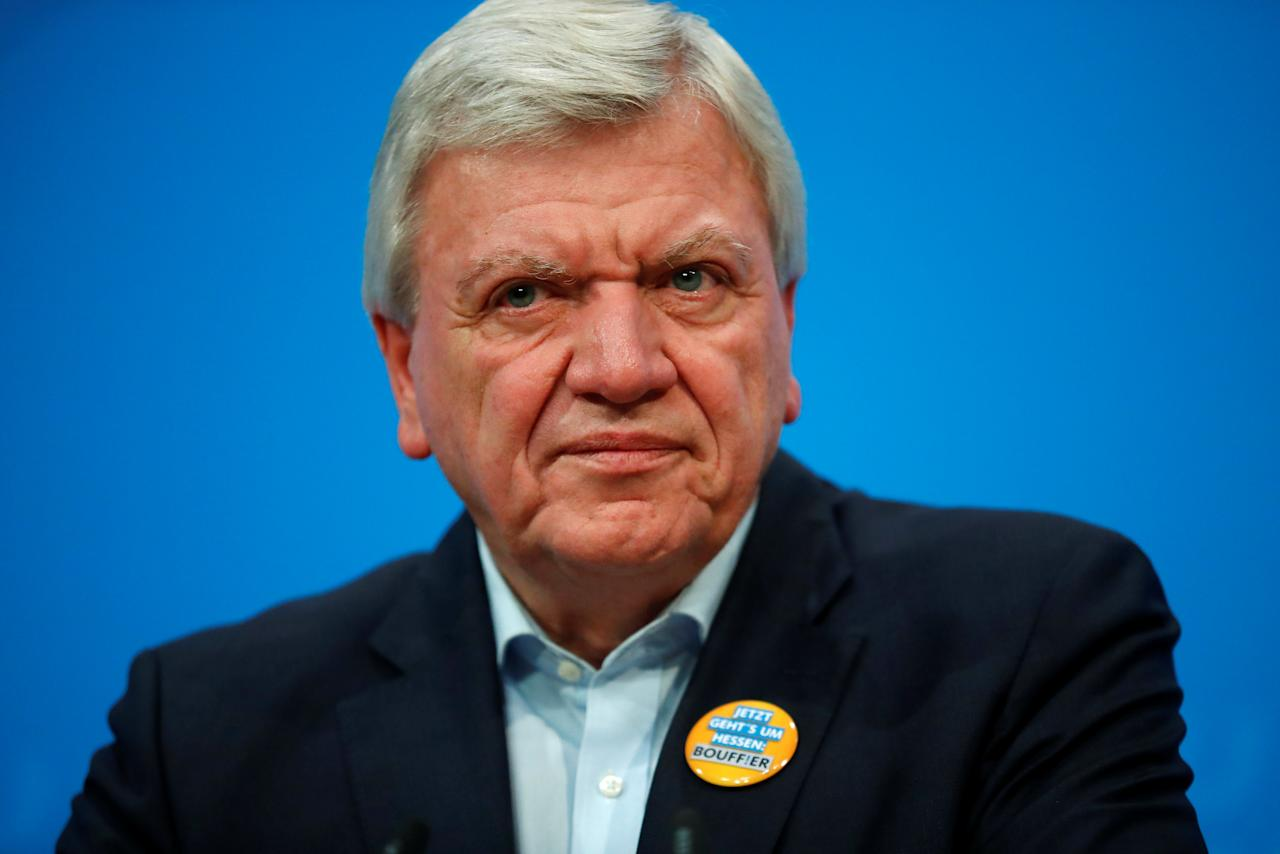 Hesse's State Prime Minister Volker Bouffier gives a statement after leadership meeting at the CDU headquarters in Berlin, Germany, October 21, 2018. REUTERS/Hannibal Hanschke