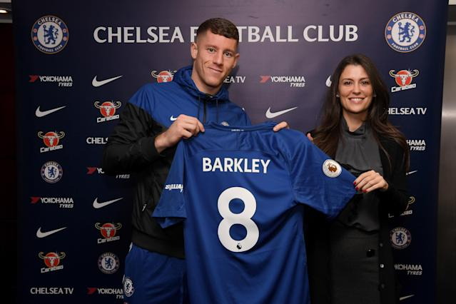 "<a class=""link rapid-noclick-resp"" href=""/soccer/players/ross-barkley/"" data-ylk=""slk:Ross Barkley"">Ross Barkley</a> poses with <a class=""link rapid-noclick-resp"" href=""/soccer/teams/chelsea/"" data-ylk=""slk:Chelsea"">Chelsea</a> director Marina Granovskaia after signing from <a class=""link rapid-noclick-resp"" href=""/soccer/teams/everton/"" data-ylk=""slk:Everton"">Everton</a>. (Getty)"