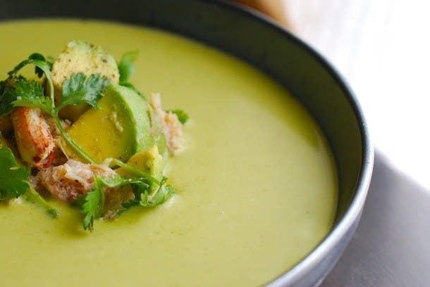 Chilled Fresh Pea Soup with Crab & Guacamole Salad