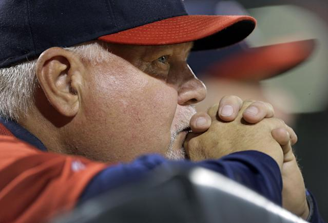 Minnesota Twins manager Ron Gardenhire watches from the dugout in the fifth inning of a baseball game against the Baltimore Orioles, Friday, Aug. 29, 2014, in Baltimore. (AP Photo/Patrick Semansky)