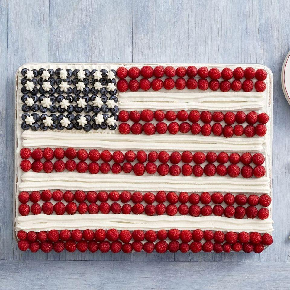 """<p>This 4th of July, take a cue from Ree and bake a flag cake for added pizzazz. Then, invite neighbors and friends to enjoy a slice while watching fireworks.</p><p><strong><a href=""""https://www.thepioneerwoman.com/food-cooking/recipes/a11633/fourth-of-july/"""" rel=""""nofollow noopener"""" target=""""_blank"""" data-ylk=""""slk:Get the recipe"""" class=""""link rapid-noclick-resp"""">Get the recipe</a>.</strong></p><p><strong><a class=""""link rapid-noclick-resp"""" href=""""https://go.redirectingat.com?id=74968X1596630&url=https%3A%2F%2Fwww.walmart.com%2Fbrowse%2Fhome%2Fbakeware%2Fthe-pioneer-woman%2F4044_623679_8455465%2FYnJhbmQ6VGhlIFBpb25lZXIgV29tYW4ie%3Fcat_id%3D4044_623679_8455465%26facet%3Dbrand%253AThe%2BPioneer%2BWoman&sref=https%3A%2F%2Fwww.thepioneerwoman.com%2Fjust-for-fun%2Fg36599700%2Fsummer-party-ideas%2F"""" rel=""""nofollow noopener"""" target=""""_blank"""" data-ylk=""""slk:SHOP BAKEWARE"""">SHOP BAKEWARE</a></strong></p>"""