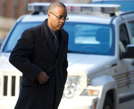 Caesar Goodson arrives at the courthouse for the first day of jury selection in Baltimore, Maryland, January 11, 2016.  REUTERS/Jose Luis Magana/Pool