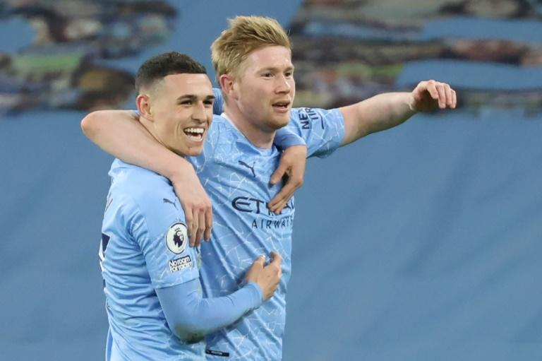Two good: Kevin De Bruyne (right) scored twice in Manchester City's 5-2 thrashing of Southampton
