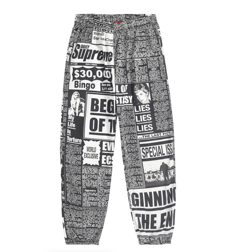Supreme Newsprint Skate Pant Black