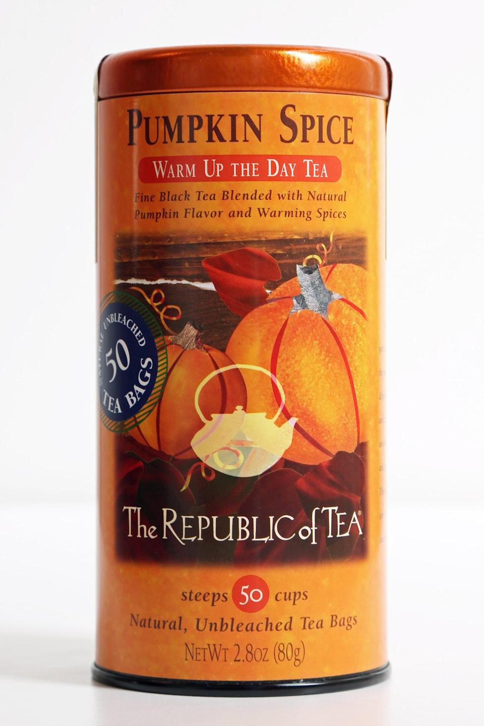 <p>Curl up with a cup of this <span>The Republic of Tea Pumpkin Spice Black Tea</span> ($13). It's spicy, warming, and a great fall drink.</p>