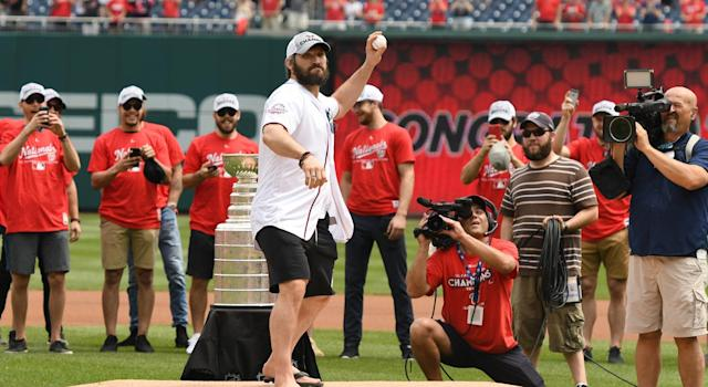 Alex Ovechkin needed a second attempt with his ceremonial first pitch at Nationals Park. (Getty)