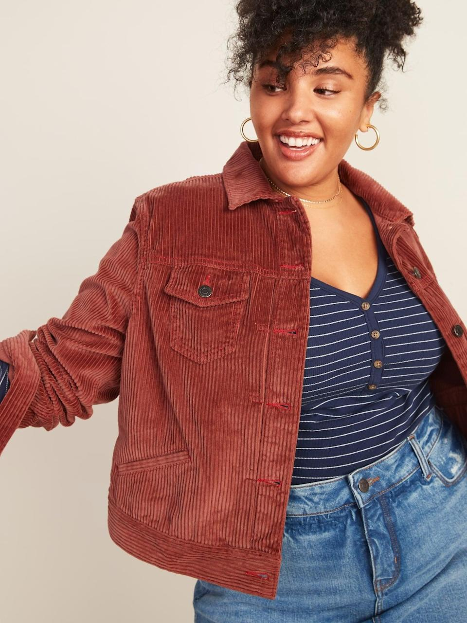 <p>I love burnt or rusty orange for fall, so naturally this <span>Cropped Corduroy Trucker Jacket</span> ($40, originally $43) caught my attention.</p>