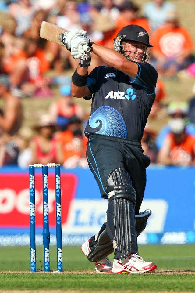 NAPIER, NEW ZEALAND - JANUARY 19:  Corey Anderson of New Zealand bats during the first One Day International match between New Zealand and India at McLean Park on January 19, 2014 in Napier, New Zealand.  (Photo by Hagen Hopkins/Getty Images)