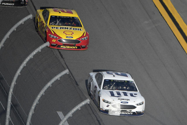 "<a class=""link rapid-noclick-resp"" href=""/nascar/sprint/drivers/1124/"" data-ylk=""slk:Brad Keselowski"">Brad Keselowski</a> (2) and <a class=""link rapid-noclick-resp"" href=""/nascar/sprint/drivers/1542/"" data-ylk=""slk:Joey Logano"">Joey Logano</a> could be two of the best bets to challenge the Big Three on Sunday at Watkins Glen. (AP Photo/Phelan M. Ebenhack)"