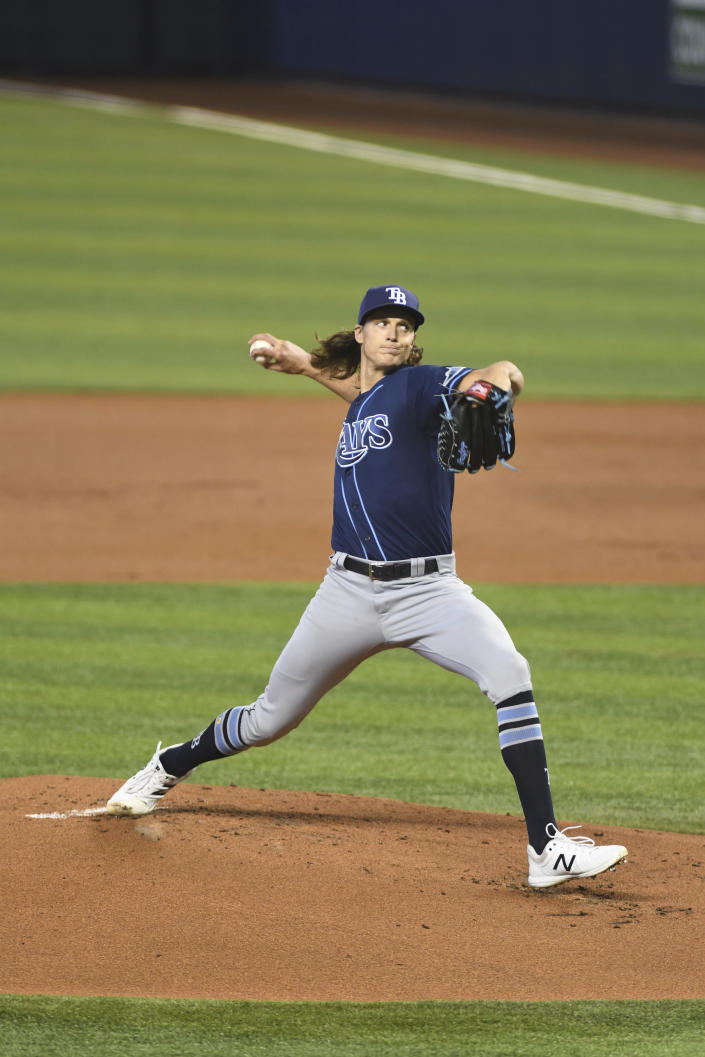 Tampa Bay Rays starting pitcher Tyler Glasnow throws in the first inning during a baseball game against the Miami Marlins, Thursday, April 1, 2021, in Miami. (AP Photo/Gaston De Cardenas)