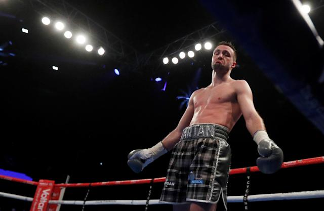 Boxing - Josh Taylor vs Winston Campos - WBC Silver Super-Lightweight Title - Glasgow, Britain - March 3, 2018 Josh Taylor reacts Action Images via Reuters/Lee Smith