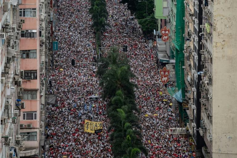 About a million people took to the streets of Hong Kong on June 9 to protest a proposed bill that would allow extradition to mainland China (AFP Photo/Philip FONG)