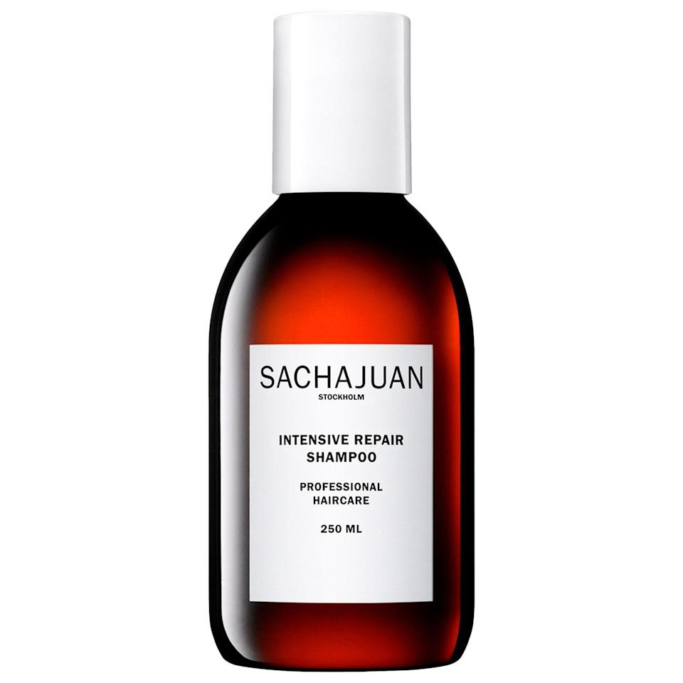 """<p><strong>Sachajuan</strong></p><p>sephora.com</p><p><strong>$29.00</strong></p><p><a href=""""https://go.redirectingat.com?id=74968X1596630&url=https%3A%2F%2Fwww.sephora.com%2Fproduct%2Fintensive-repair-shampoo-P378310&sref=https%3A%2F%2Fwww.cosmopolitan.com%2Fstyle-beauty%2Fbeauty%2Fg20874938%2Fbest-shampoo-dry-damaged-hair%2F"""" rel=""""nofollow noopener"""" target=""""_blank"""" data-ylk=""""slk:Shop Now"""" class=""""link rapid-noclick-resp"""">Shop Now</a></p><p>Damaged hair is synonymous with dry hair, which is why this gentle <a href=""""https://www.cosmopolitan.com/style-beauty/beauty/g28084441/mild-shampoo/"""" rel=""""nofollow noopener"""" target=""""_blank"""" data-ylk=""""slk:shampoo"""" class=""""link rapid-noclick-resp"""">shampoo</a> from Sachajuan is <strong>loaded with a combo of repairing and hydrating ingredients</strong>, like glycerin, panthenol, and algae-derived marine extracts. </p>"""