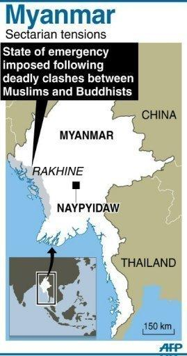 Graphic showing Rahkine state in Myanmar where emergency rule has been imposed after deadly clashes between Muslims and Buddhists. Dozens of people have been killed in a surge in sectarian violence in Myanmar, an official says as international pressure mounts for an end to the bloodshed