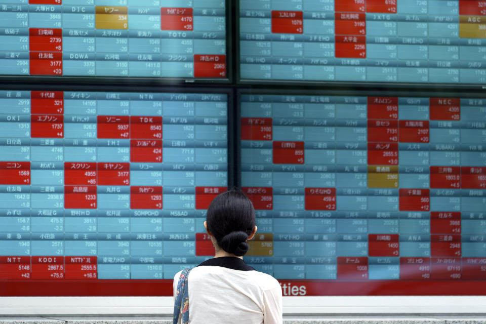 FILE - In this July 10, 2019, file photo a woman looks at an electronic stock board showing Japan's Nikkei 225 index at a securities firm in Tokyo. More and more government and even some corporate bonds are trading at negative interest yields. The negative yield phenomenon, 87% of it in Europe and Japan, is above all sign of pessimism about the future, or risk-off behavior in market jargon. (AP Photo/Eugene Hoshiko, File)