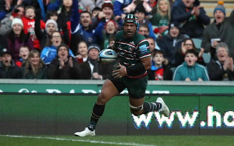 Jordan Taufua scores a try for Leicester Tigers - GETTY IMAGES