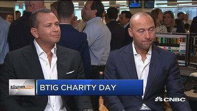 Alex Rodriguez and Derek Jeter had an awkward interview together on CNBC on Tuesday. (Screenshot)