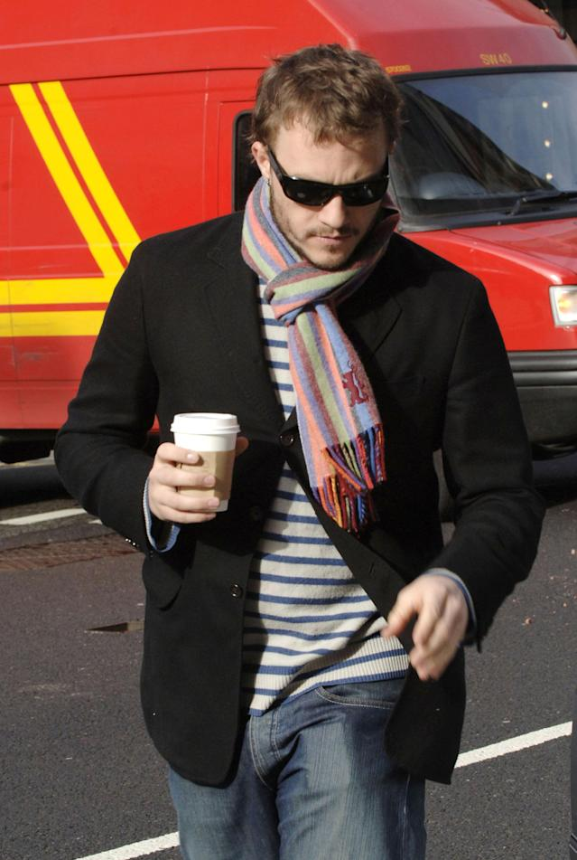Heath Ledger grabs coffee on Feb. 18, 2006, in London. (Photo: Niki Nikolova/FilmMagic)