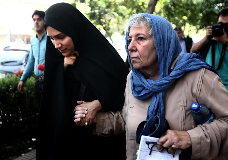Mary Rezaian (R), the mother of detained Washington Post correspondent Jason Rezaian and his wife Yeganeh Salehi, pictured on August 10, 2015 in Tehran, were allowed to visit him for several hours in Evin prison