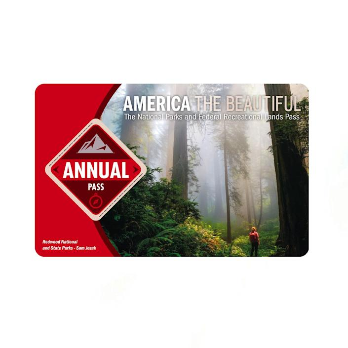 """For dads planning on road-tripping this summer, set him up with an annual National Parks pass. It gives him unlimited access, and he'll get his (ahem, your) money's worth after three visits. $80, USGS Store. <a href=""""https://store.usgs.gov/pass"""" rel=""""nofollow noopener"""" target=""""_blank"""" data-ylk=""""slk:Get it now!"""" class=""""link rapid-noclick-resp"""">Get it now!</a>"""