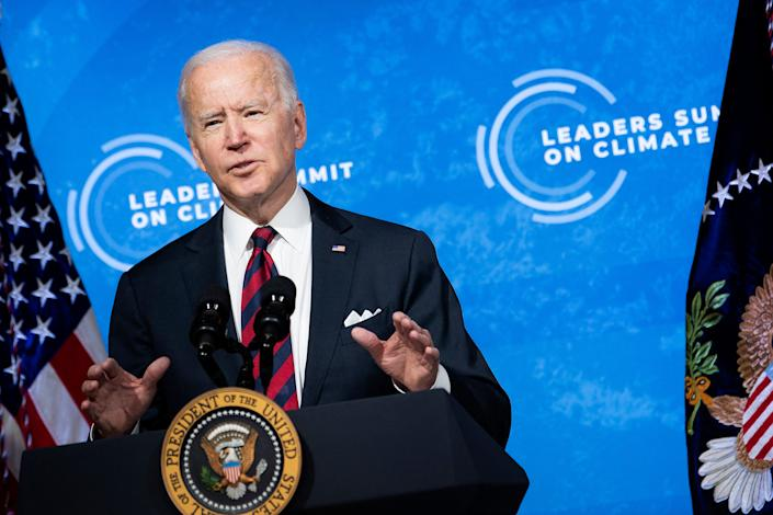 US President Joe Biden speaks during climate change virtual summit from the East Room of the White House campus April 22, 2021, in Washington, DC. (Brendan Smialowski/AFP via Getty Images)
