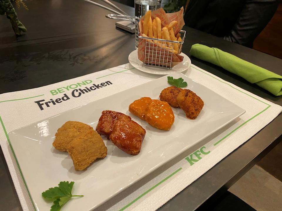 A plate of Beyond Fried Chicken served with KFC sauces is seen in Chicago, Illinois, USA on January 28, 2020. Photo taken on January 28, 2020. REUTERS / Richa Naidu