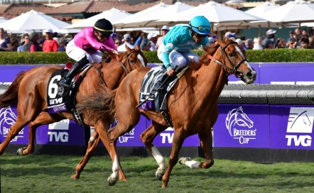 Jockey Joel Rosario rides Uni to victory ahead of Tyler Gaffalione on Got Stormy in the Breeders Cup Mile race at Santa Anita (AFP Photo/Frederic J. BROWN)
