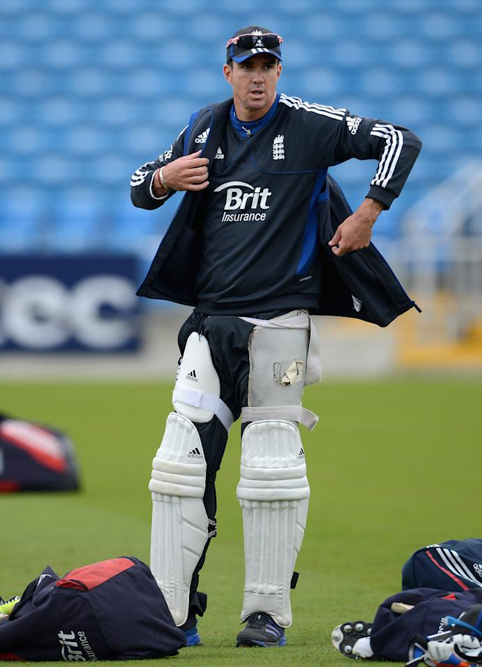 LEEDS, ENGLAND - JULY 31:  Kevin Pietersen of England during a nets session at Headingley on July 31, 2012 in Leeds, England.  (Photo by Gareth Copley/Getty Images)