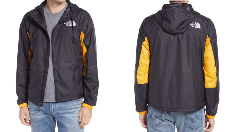 This windbreaker from The North Face will guard against wind and rain.