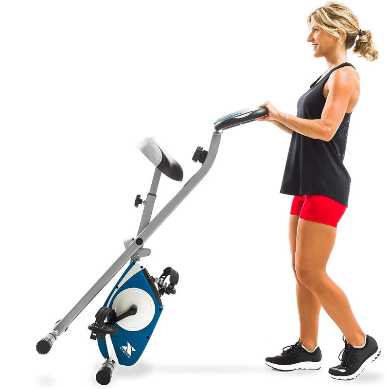 The XTERRA Fitness FB150 Folding Exercise Bike conveniently folds away when not in use. Image via Amazon.