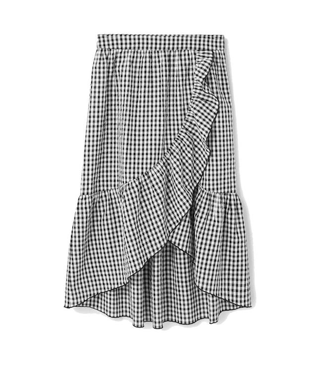 "<p>Gingam printed skirt, $50, <a href=""http://shop.mango.com/US/p0/women/clothing/skirts/midi/gingham-print-skirt?id=83047578&utm_source=polyvore&utm_medium=cpc&utm_campaign=comparador_USA&utm_term=83047578&LGWCODE=83047578;78419;3141"" rel=""nofollow noopener"" target=""_blank"" data-ylk=""slk:mango.com"" class=""link rapid-noclick-resp"">mango.com</a> </p>"