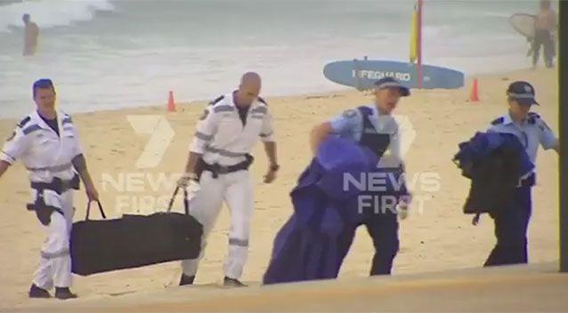 Police approach the area on Maroubra beach where a body was found, believed to be 14-year-old Tui Gallaher who went missing on Thursday. Source: 7 News