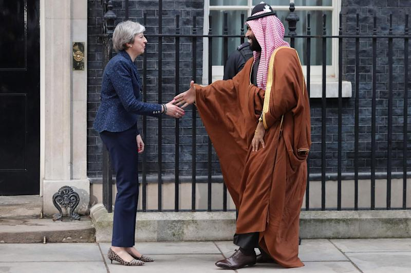Saudi Arabia's Crown Prince meets the Prime Minister in Downing Street: AFP/Getty