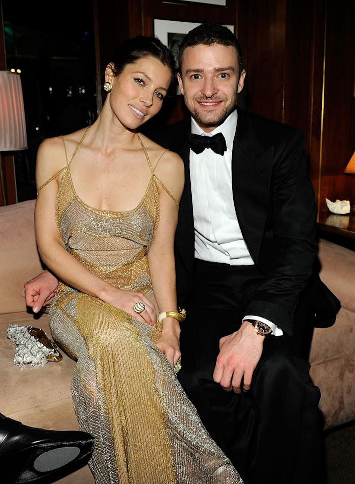 """Jessica Biel (in Versace) joined her main squeeze, Oscar presenter Justin Timberlake (who wore a Tom Ford tux), at the 2011 Vanity Fair Oscar party after appearing on """"Jimmy Kimmel Live!"""""""