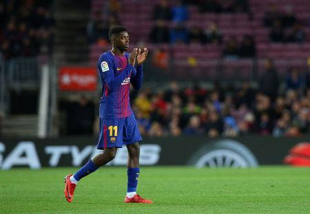 Barcelona's Ousmane Dembele appluads the fans as he is substituted off. REUTERS/Albert Gea