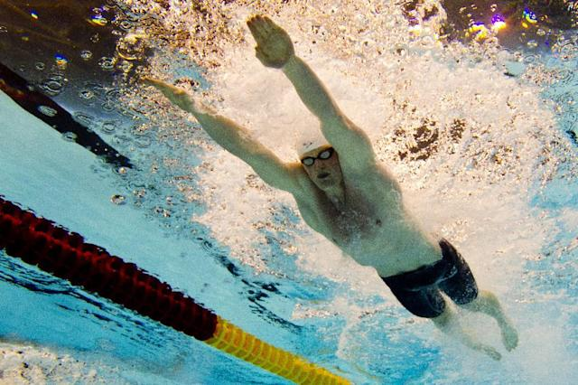 Great Britain's Adam Peaty competes in the 50m breststroke men final event at the 32nd LEN European swimming championships on August 23, 2014 in Berlin (AFP Photo/Damien Meyer )