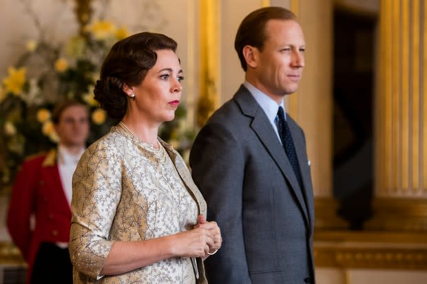 Olivia Colman in the role of Queen Elizabeth and Tobias Menzies playing Prince Philip on The Crown on Netflix