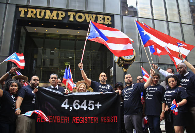 Bronx Borough President Ruben Diaz, center, led a protest over the Trump administration's response to Hurricane Maria during the Puerto Rican Day Parade in New York on June 10. (Photo: Bebeto Matthews/AP)