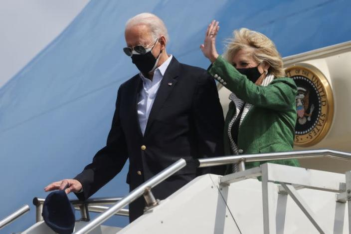 U.S. President Joe Biden and his wife Jill Biden arrive at Ellington Field Joint Reserve Base in Houston, Texas