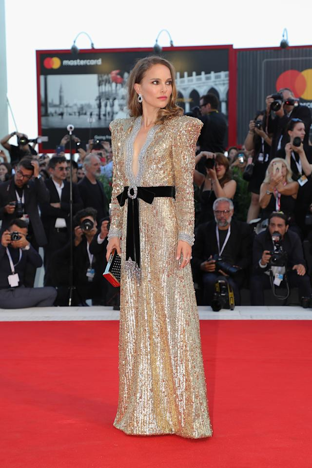 <p>The actress wowed in an 80s inspired sequin dress by Gucci. <em>[Photo: Getty]</em> </p>