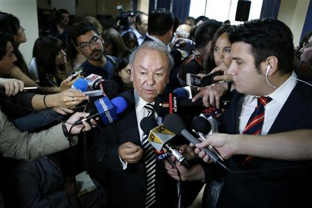 Reyes, nephew of Chilean poet and Nobel laureate Pablo Neruda, talks to the media after a news conference in Santiago