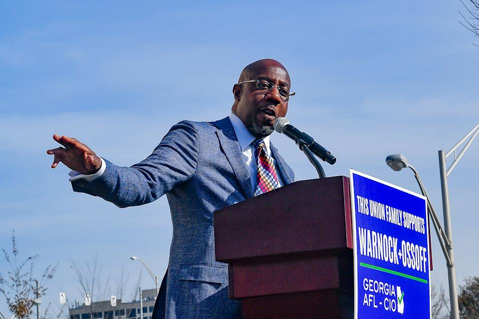 Raphael Warnock, Democratic candidate for the U.S. Senate, speaks at a Labor Union campaign rally. (Photo by Rich von Biberstein/Icon Sportswire)
