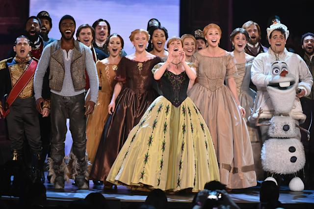 Jelani Alladin, Patti Murin, Greg Hildreth, and the cast of Frozen perform onstage during the 72nd Annual Tony Awards, 2018. (Theo Wargo/Getty Images for Tony Awards Productions)