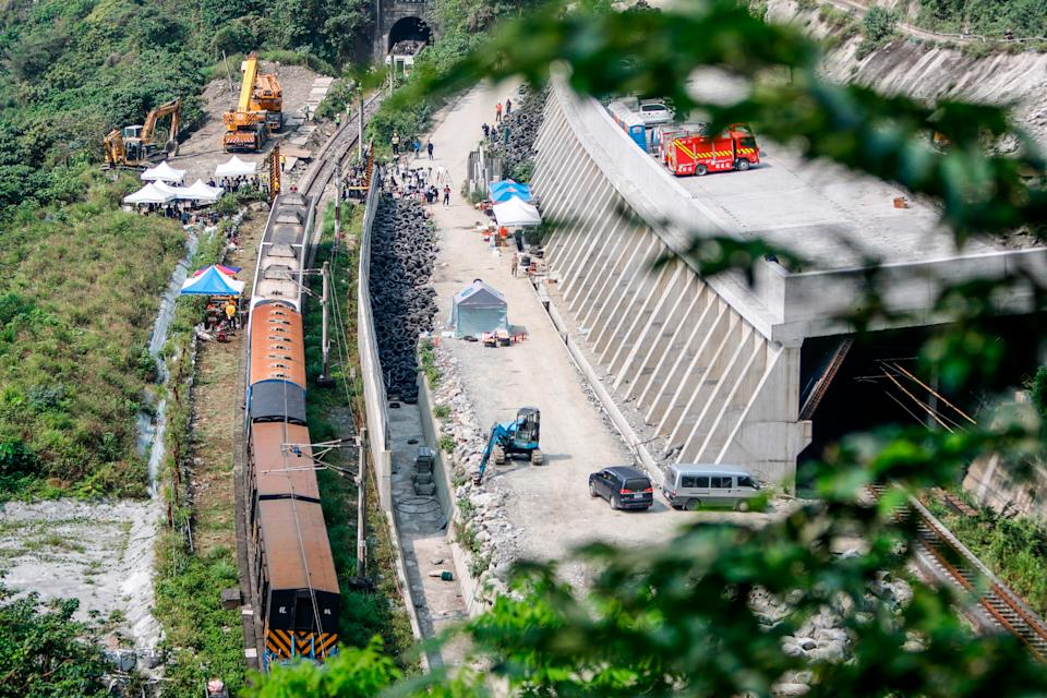 The scene of a train derailment in Taiwan, which killed at least 50 people.