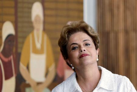 Suspended Brazilian President Dilma Rousseff attends a news conference with foreign media in Brasilia